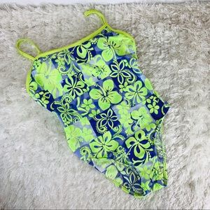 Vintage Neon Yellow Purple Floral 1 Pc Swimsuit M